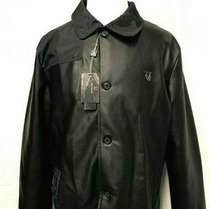 VG World Collection Black Faux Leather Jacket, X L